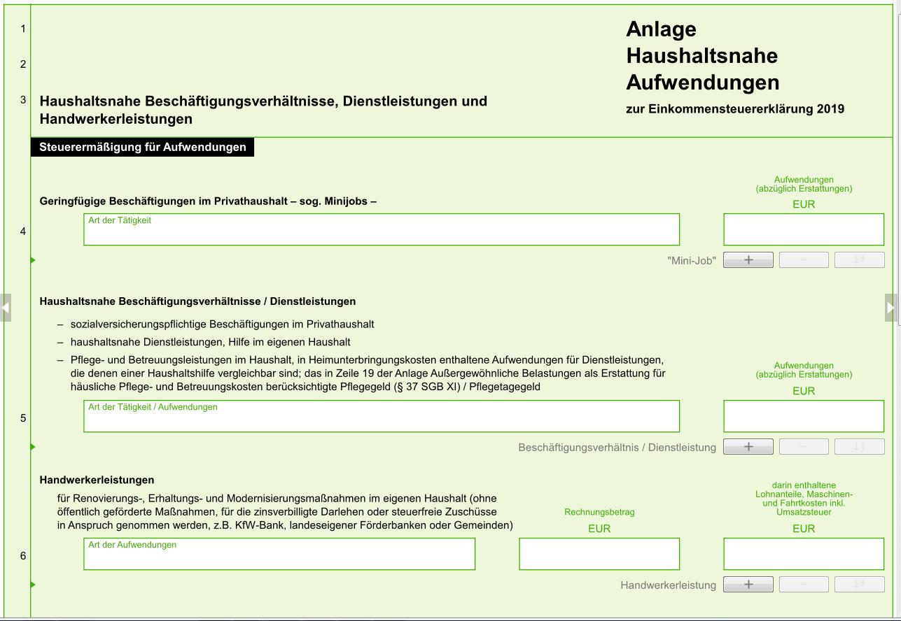 Steuererklärung.Elster online. 6. Anlage Haushaltsnahe ...